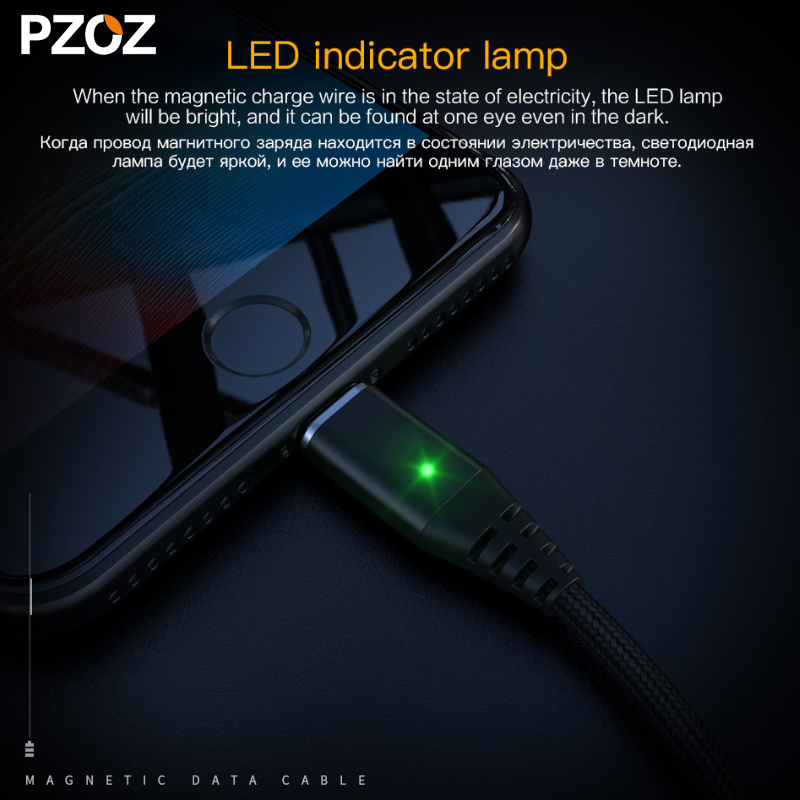 Pzoz Магнитный кабель micro usb Быстрая Зарядка адаптер Lightning Micro USB кабель Трансмиссия Android MicroUSB магнит Зарядное устройство Plug
