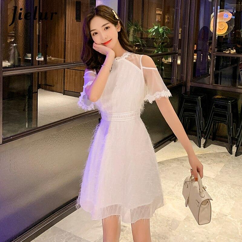 Jielur Mesh Spitze Patchwork Kleid Frauen Weg Schulter Oansatz Vintage Elegante Weiße Kleider Street Koreanische Sommer Vestidos Verano