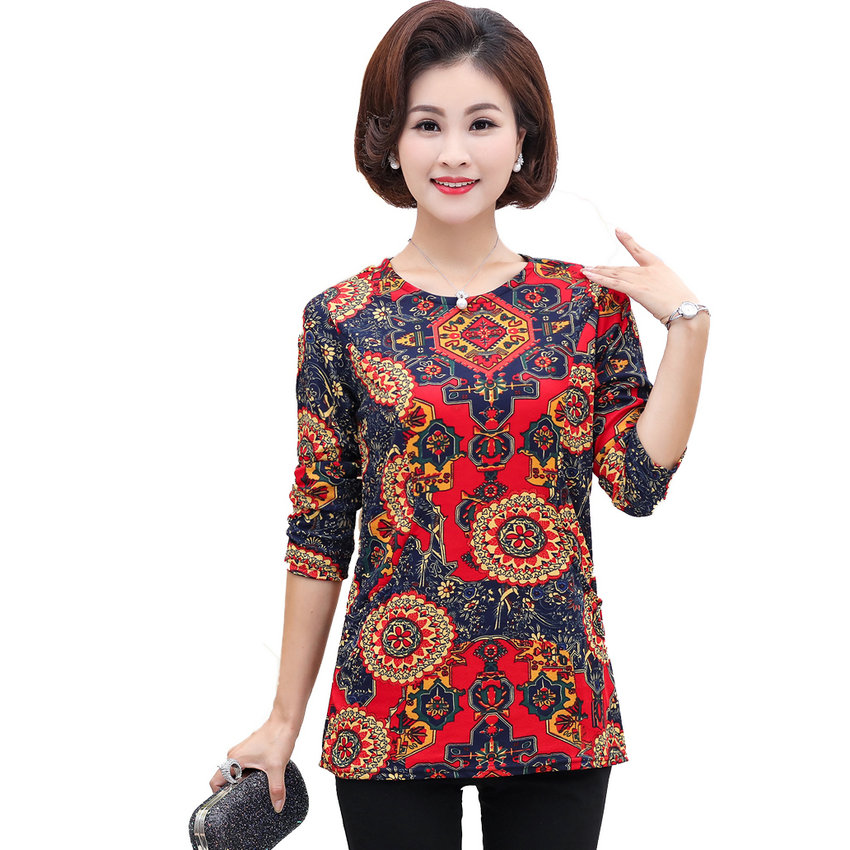 Chinese Woman Autumn Blouses Flower Tops Women Basic Tunic Round Collar Long SLeeve Blouse Lady Plus Size Leisure Top Mother 4XL
