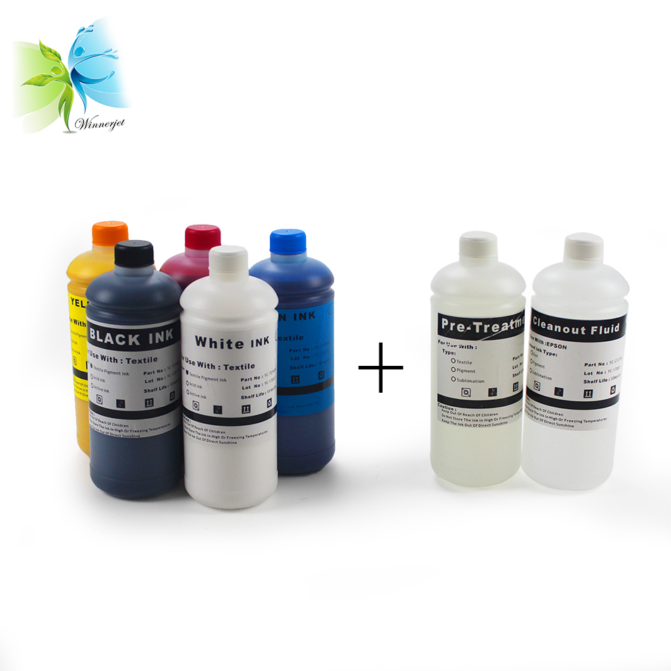 2 White + C M Y K + Pre-treatment Textile DTG Ink for <font><b>Epson</b></font> <font><b>f2000</b></font> l800 1390 L1800 <font><b>Printer</b></font> image