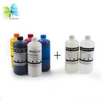2 branco + c m y k + pré-tratamento têxtil dtg tinta para epson f2000 l800 1390 l1800 impressora