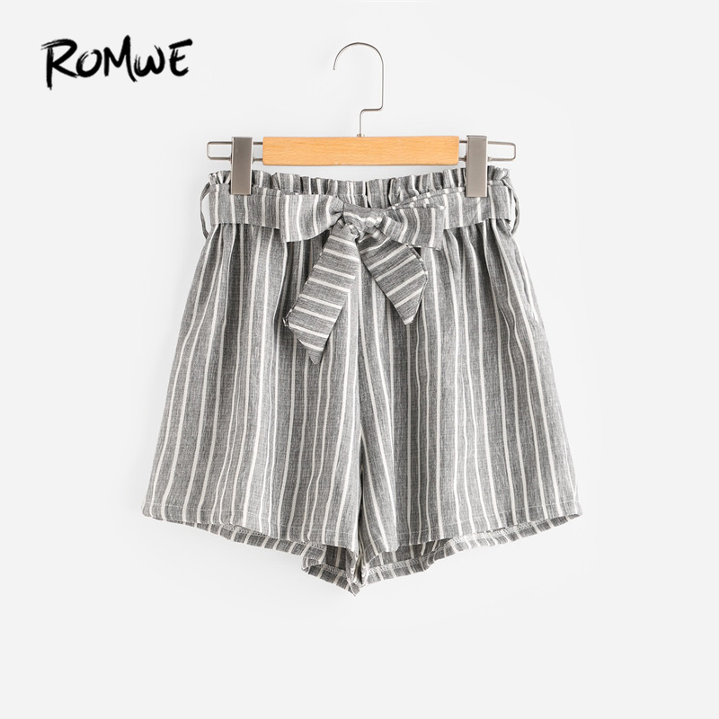 ROMWE Vertical Striped Elastic Waist Self Tie Front Shorts Womens Grey High Waist Shorts Summer Straight Shorts