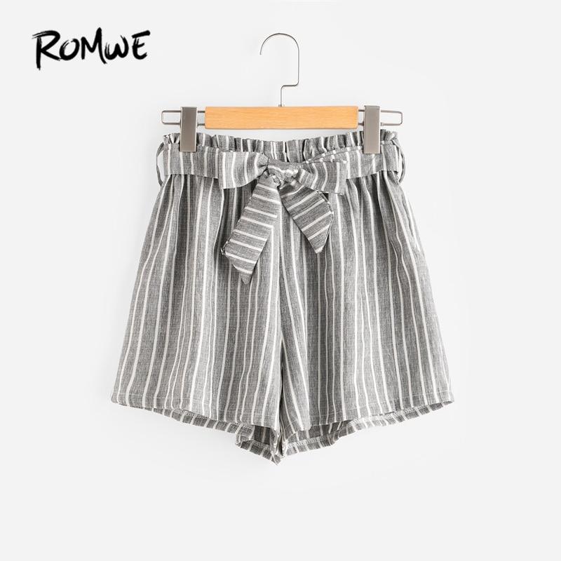 ROMWE Vertical rayas elástico cintura Self Tie Front Shorts Womens gris alta cintura verano cortocircuitos rectos