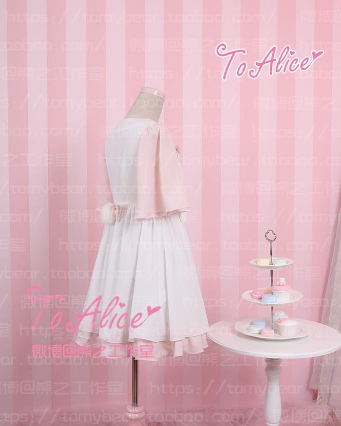 Evasées Filles Rose De Rabbitsmile Manches Courte Et Lolita Blanc Loppy Mousseline Soie Patch Robe Super Eared Lapin Mignon D'été 3jLqA54cR