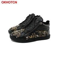 OKHOTCN/черная кожаная мужская повседневная обувь на молнии сбоку; Дизайнерские мужские кроссовки со стразами и цветочным принтом; со стразами