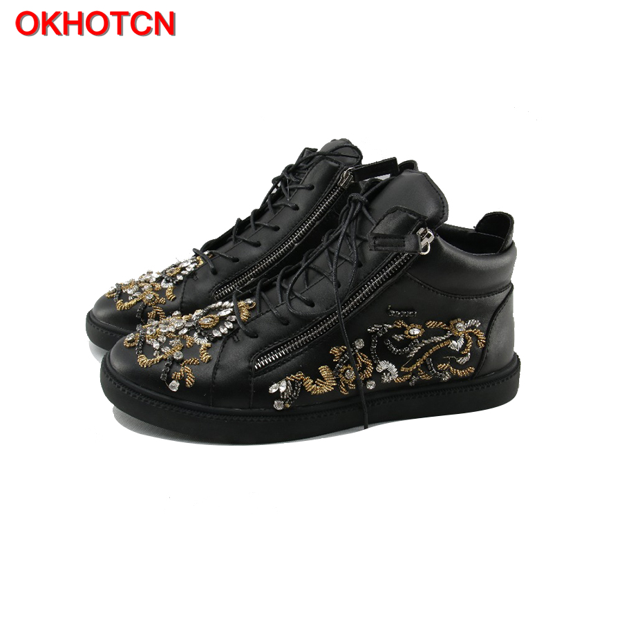 OKHOTCN черные кожаные с боковой молнией мужские повседневные туфли дизайнерские Стразы Цветочные мужские кроссовки с кристаллами шипами на ш