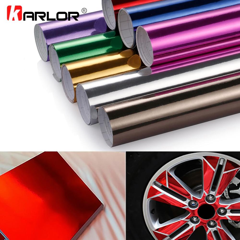60 cm * 500 cm Chrome miroir vinyle Wrap Film adhésif décoration changement de couleur bricolage feuille d'emballage Auto autocollants décalcomanie accessoires de voiture