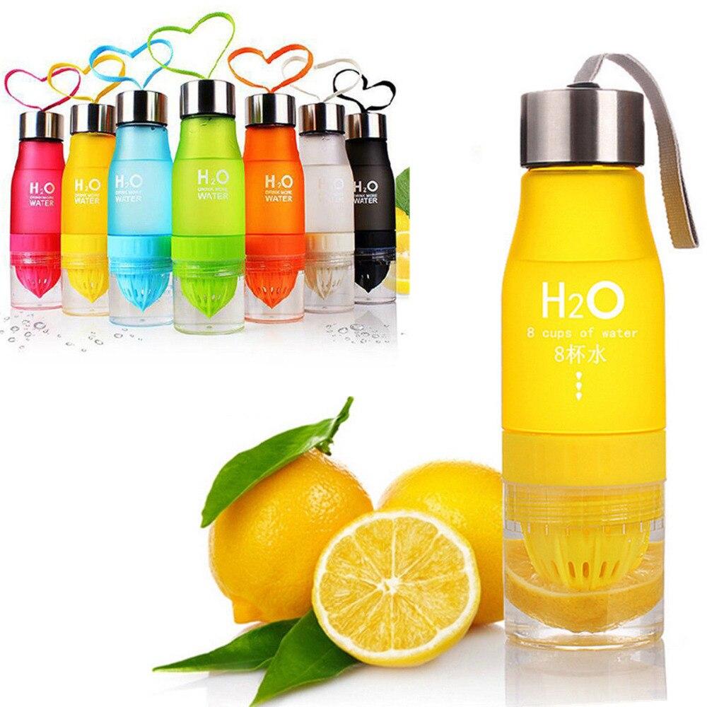 Fruits Bouteille D'eau Avec Infuseur 650 ml H2O En Plastique SANS BPA Jus De citron Shaker Bouteille de Boisson De L'eau Fruits Infuseur Fles D40