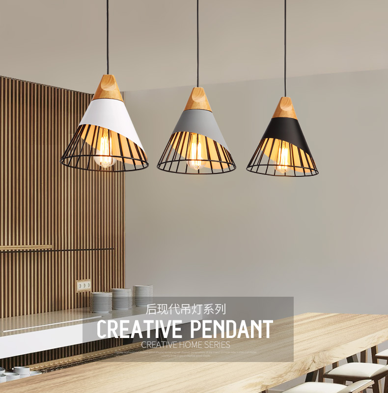 Modern Pendant Lights Dining Room Pendant Lamps Modern Colorful Restaurant Coffee Bedroom Lighting Iron+Solid Wood E27 Holder modern simple european style dining room lighting american hollow carved iron bedroom pendant lights