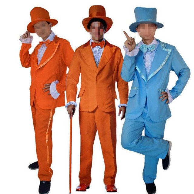 Adults Men Blue Orange Clown Formal Suits Funny Magician Cosplay Stage  Performance Costumes Halloween Dress Party ce3033f88b66