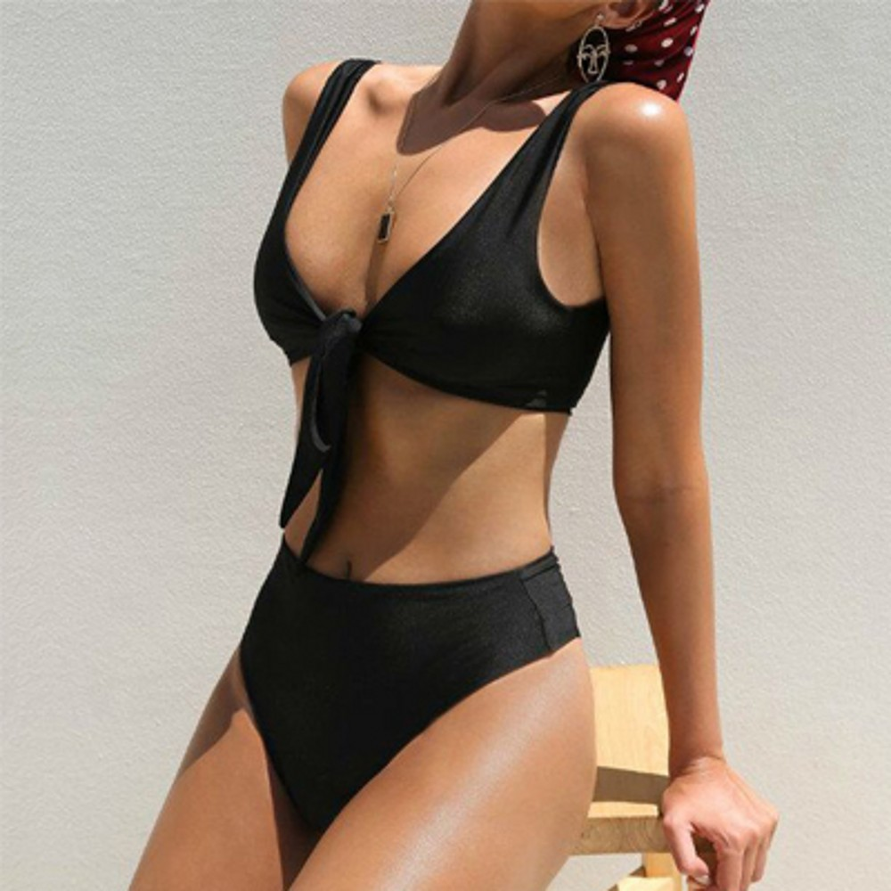Bikini High Waist Solid Color Swimsuit Female Europe and America Bandage bikini Chest Knotted bikin