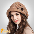 Promotion lady beret Cap color knitting ball  Lady Fashion  Hat Beret ultra thin Winter Ear windproof hat   B-0736