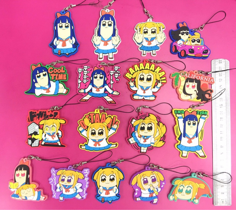 17pcs/lot POP TEAM EPIC Original Japanese Anime Figure Rubber Silicone Sweet Smell Mobile Phone Charms/key Chain/strap G894