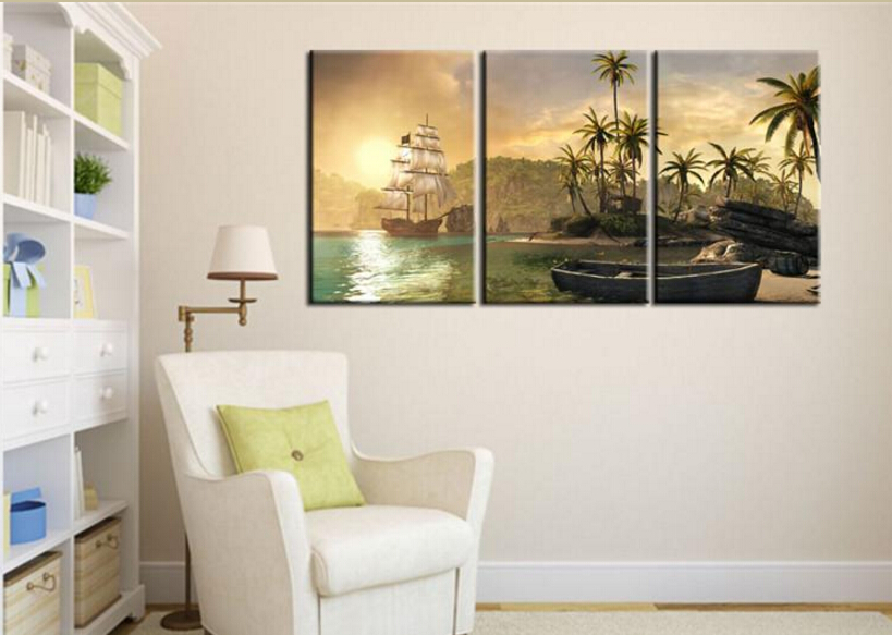 Hd Canvas Print Home Decor Wall Art Painting Picture 3pc No Frame Sailboats Palm Trees
