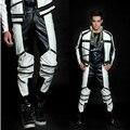 2014 Новая мода Весна Осень черный и белый цвет блока брюки мужчины падение повседневная punk молнии искусственной кожи брюки