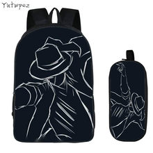 DIY Michael Jackson 2PC Set with Pencil Case Student Backpacks Printing Cool Children SchoolBags For Boys Women Men Book Bag New(China)