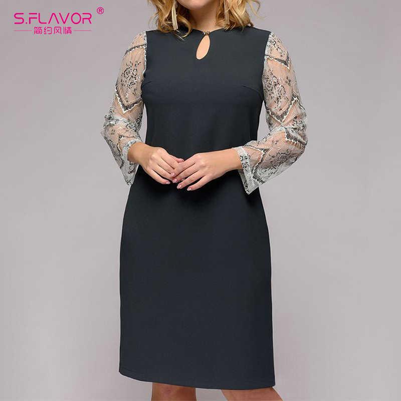 S. FLAVOR плюс Размеры Для женщин прямое платье с длинными рукавами и круглым вырезом Офисные женские туфли элегантные свадебные платья на весну в стиле пэчворк, с кружевом летнее платье