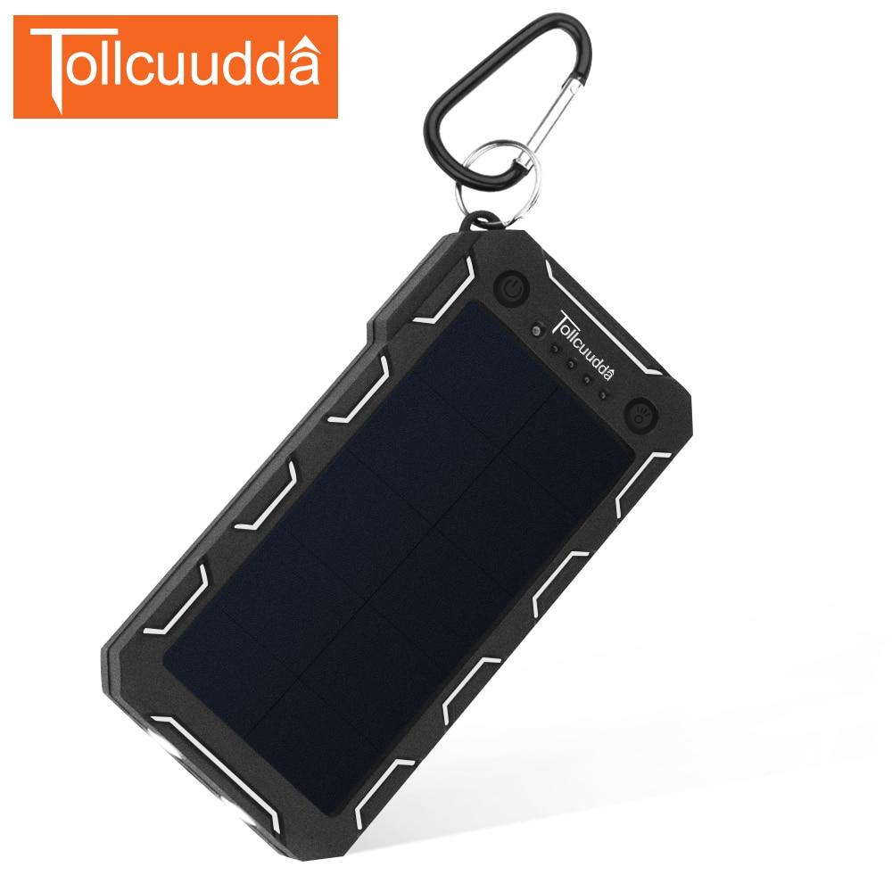 Tollcuudda External Battery Power Pover Bank 12000mAH <font><b>Solar</b></font> Portable Usb Charger Mobile Powerbank Cargador For Iphone Xiaomi Mi