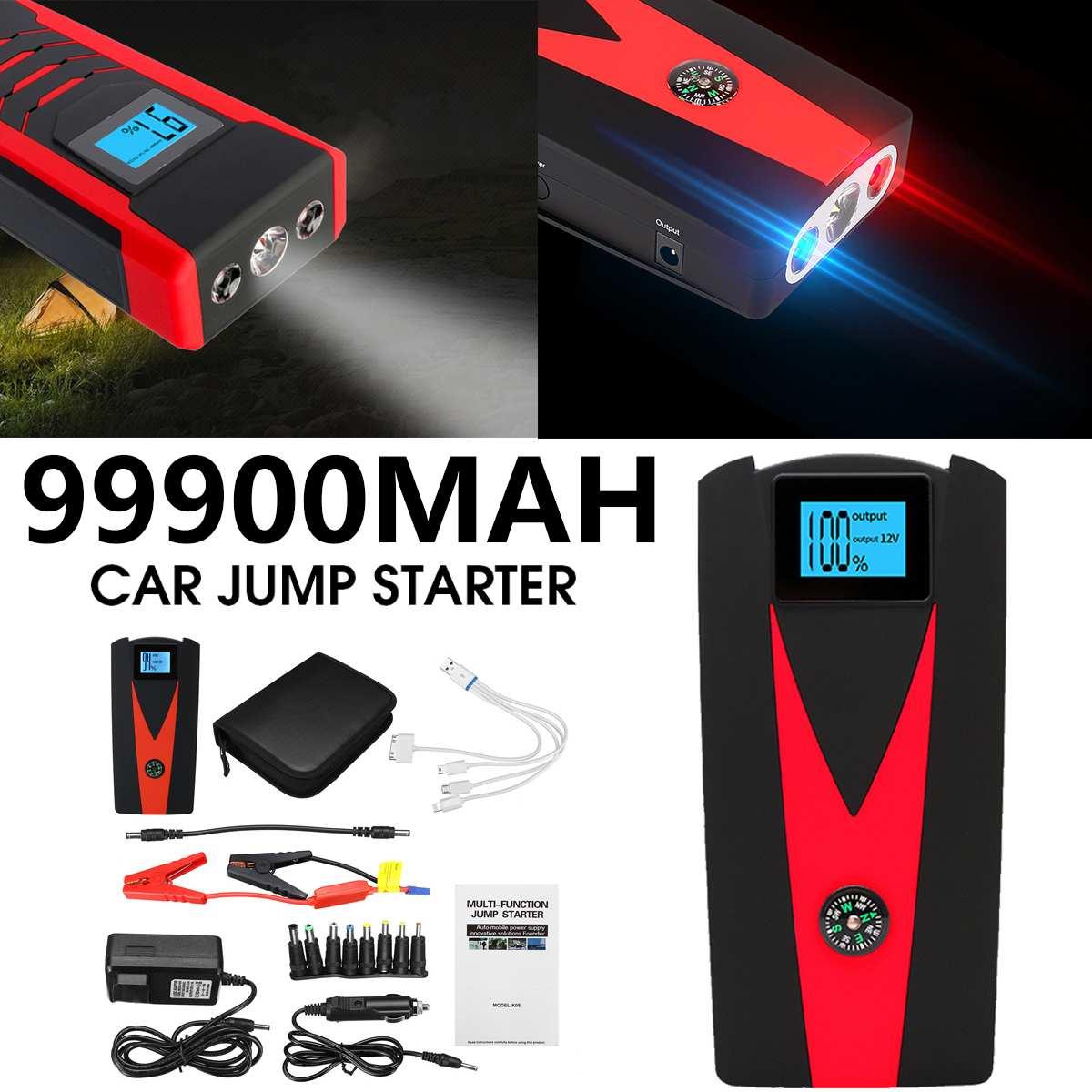 12V 99900mAh LED Portable démarrage de voiture démarrage de puissance Booster de banque 2 USB chargeur batterie de démarrage dispositif de secours puissances Kit