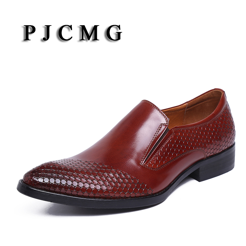 PJCMG New Fashion Men's Genuine Leather Brogue Man Oxford Bullock Flats Vintage Lace-Up Casual Business Gentle Dress Shoes klaus h carl shoes