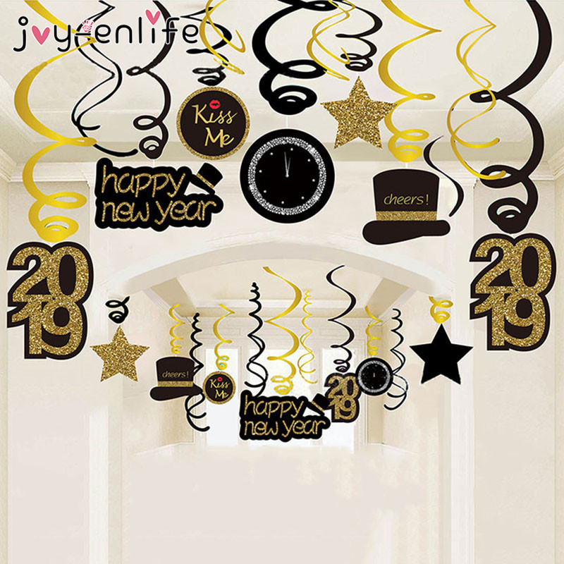 joy enlife 30pcsset diy ceiling hanging swirl 2019 happy new year decoration creative christmas banner new year supplies memang store
