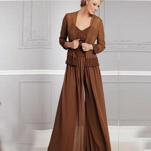 df30efcbca8 Long Sleeve Jacket Plus Size Mother Of The Bride Pant Dresses Suits With Jacket  Chiffon Spaghetti Strap Customer Made Outsets