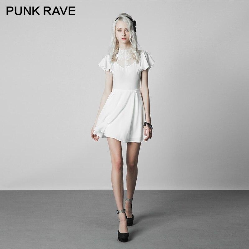 PUNK RAVE Gothic Women Fashion Lace Stitching V collar Lotus Leaf Elegant White Slim Version Wrinkle