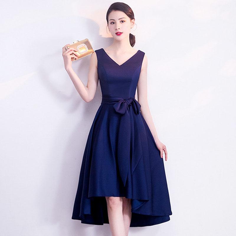 Robe De Soiree Navy Blue Long Homecoming Slim Dress Sexy Women V neck Formal Dresses Graduation Sleeveless Bow Evening Gown