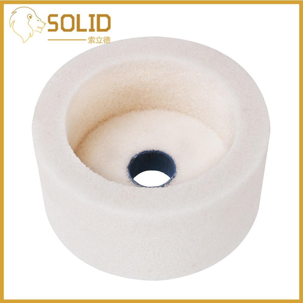 "75mm 3/"" White//Brown Corundum Ceramic Grinding Wheel Cup Type for Metal 80 Grit"