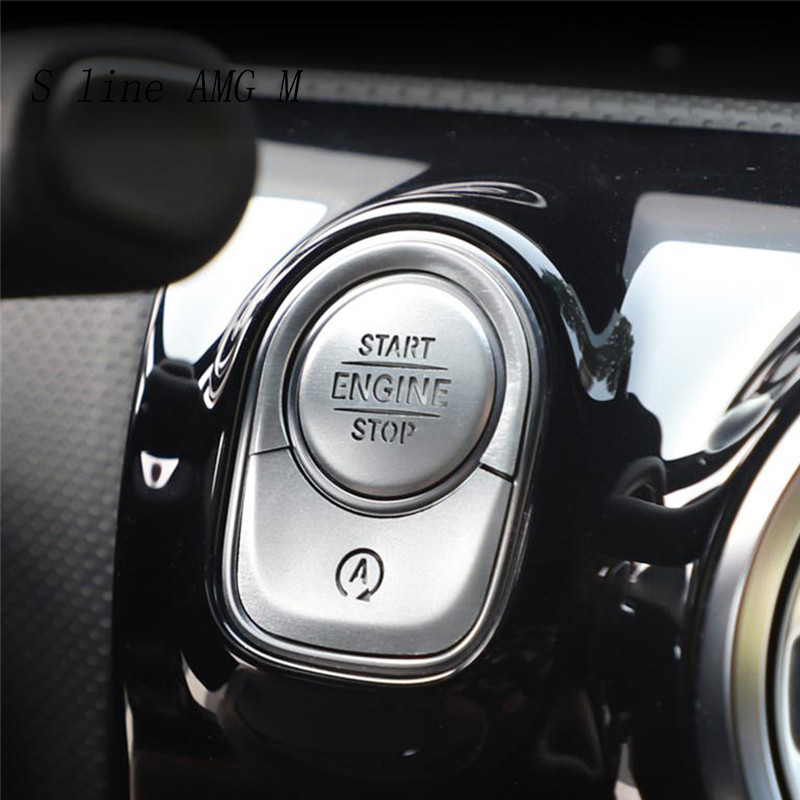 Car Styling ENGINE START STOP switch off Covers Stickers Trim for <font><b>Mercedes</b></font> Benz A Class <font><b>A180</b></font> A200 2019 Interior auto Accessories image
