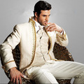 Classic Ivory Gold Applique Mens Suits Stand Collar Wedding Suits For Men Tuxedos Slim Fit (jacket+pants+tie+vest)