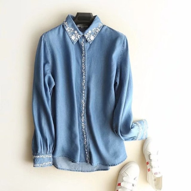 20c64832d25 Chic blouses women Tencel Denim Shirts spring ladies tops Long Sleeve  Embroidery Blouse shirts casual Female