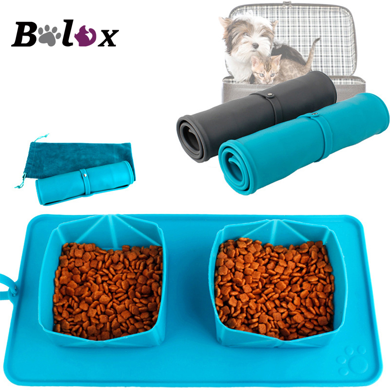 Dog Collapsible Silicone Double Bowl Foldable Portable Pet Feeder Travel Bowl Eating Drinking Paw Dish Outdoor Feeding Two Bowls