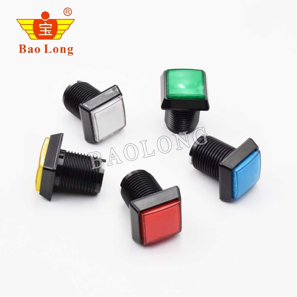 32mm Square Arcade Button LED Illuminated Push Button with Microswitch for Arcade Games