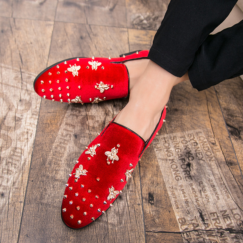 HTB1T7K4sQSWBuNjSszdq6zeSpXam New Fashion Gold Top and Metal Toe Men Velvet Dress shoes Italian men's dress shoes Handmade Loafers