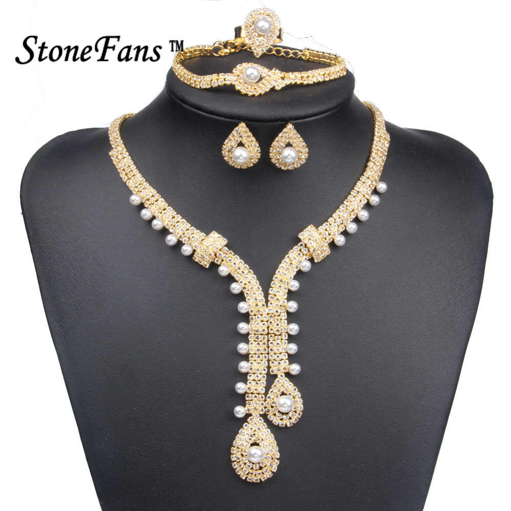 StoneFans Bridal Crystal and Pearl Necklace Set Wedding Necklace Earrings Bracelet Ring Jewelry Sets Gold Color Trendy