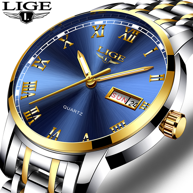 LIGE Luxury Brand Men Stainless Steel Gold Watch Men's Quartz Clock Man Sports Waterproof Wrist Watches Relogio Masculino