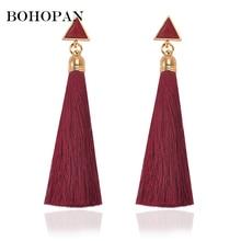 Bohemia Long Tassel Earrings Triangle Acrylic Fringe Drop Earrings for Women Charm Wedding Fringed Earrings Jewelry Party Gift charm fringe design drop earrings
