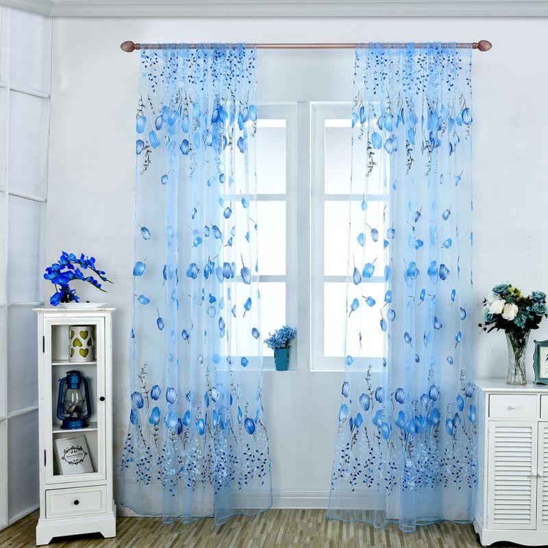 窓カーテンシアーボイルチュール寝室用リビングルームバルコニーキッチンプリントチューリップ柄日陰カーテン1M * 2M