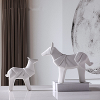 Creativity White War Horse Decoration Sculpture Simple Style Ceramic Statue Desktop Crafts Home Decor Ornaments Animal Figurine