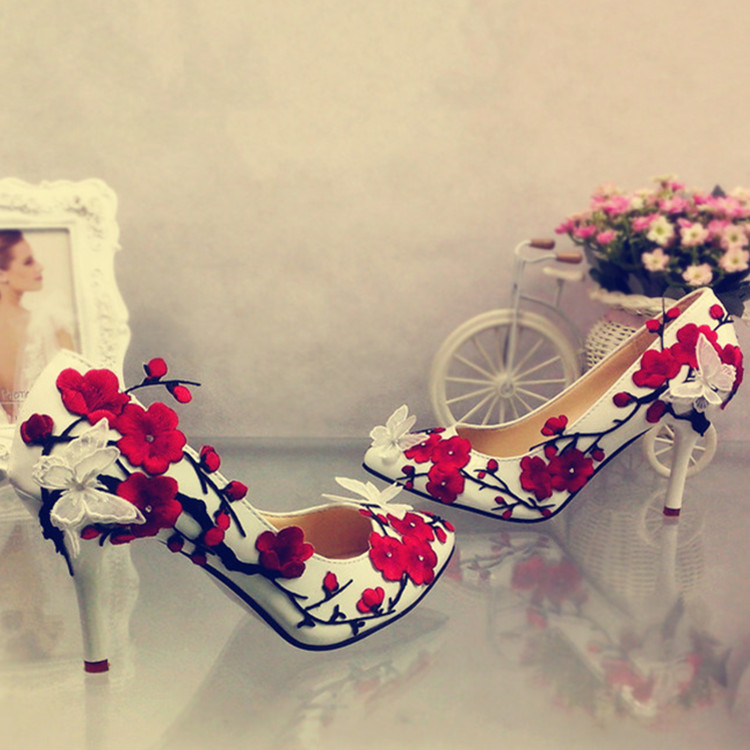 wedding shoes super high with pointed lace embroidered butterfly bride wedding photo wedding reception women