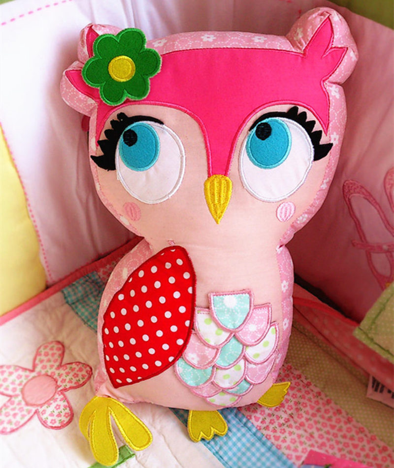 New cotton children pillow bedroom girls toy house furnishings bed cushion car cushion Cotton Pink owl stereo cute birthday gift