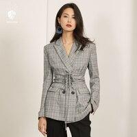 FANSILANEN 2017 Fashion New Arrival Vintage Spring Autumn Winter Work Coat Plaid Women Jacket Suits Feminine