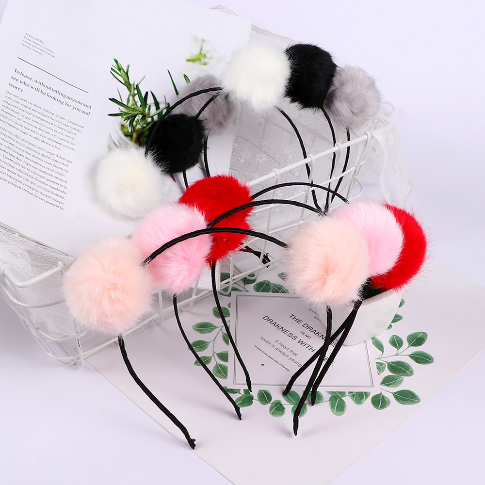 Generous 1pc Lovely Sweet Fur Ball Furry Ears Fluffy Rabbit Fur Ball Women Headband Hair Band Head Accessories Hot Sale Sufficient Supply
