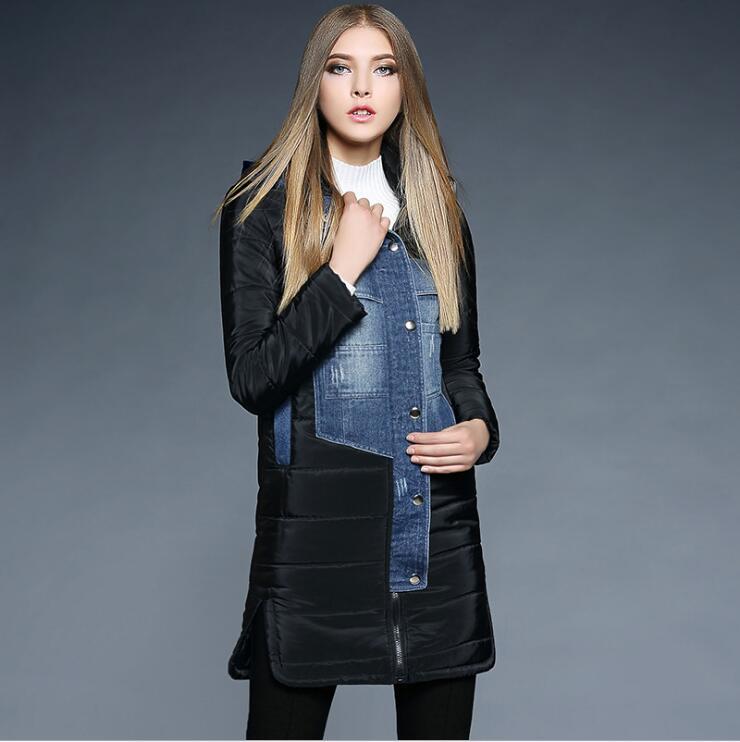 ФОТО 2016 winter new arrivals European and American brand denim stitching long full sleeve hooded fashion women cotton coat