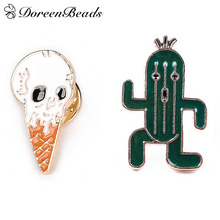 DoreenBeads 1 PC Funny Brooch Pins for Men Women Ice Cream Cactus Brooches Badges for Shirts Jeans Coats Bags Decoration Jewelry