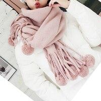 Aucalvi熱い販売スタイルのスカーフで秋と冬アクリル暖かいショール付きヘアボール肥厚大echarpe