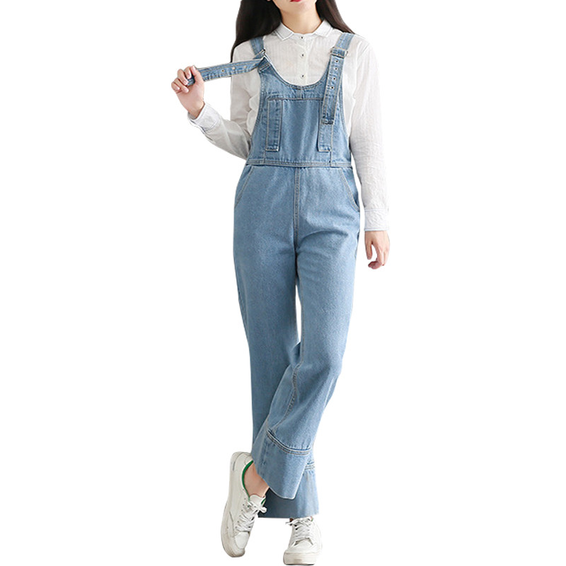 2017 New High Quality Vintage Denim Overalls Jeans Women Jumpsuit Casual Loose Denim Overalls For Women Wide Leg Jeans 2014 new fashion reminisced men vintage trousers casual jeans wash capris pants loose plus size overalls zipper denim jumpsuit