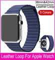 100% Genuine Leather Loop Watchband For Apple Watch Quilted Leather with Adjustable Magnetic Closure Loop