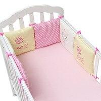 6Pcs Cotton Baby Cot Bedding Set Newborn Cartoon Baby Crib Bedding Set Detachable Cot Bed Linen 4 Bed Bumpers+1 Sheet